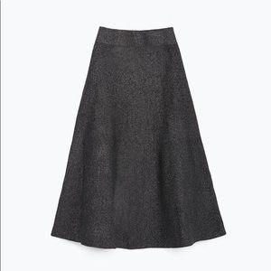 Zara A Line Midi Ponte Skirt